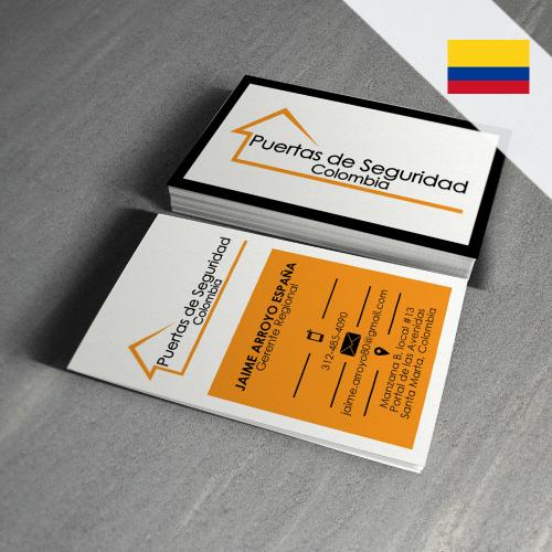 tarjeta presentación puertas de seguridad, colombia