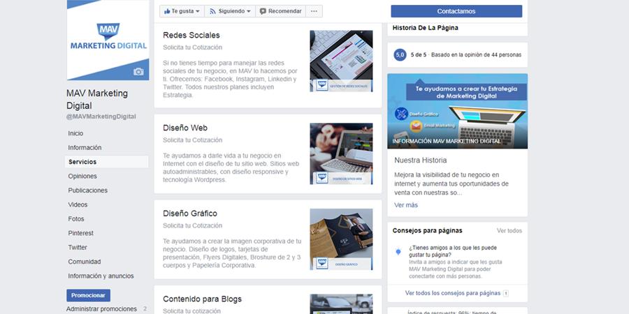 Seccion Servicios Facebook